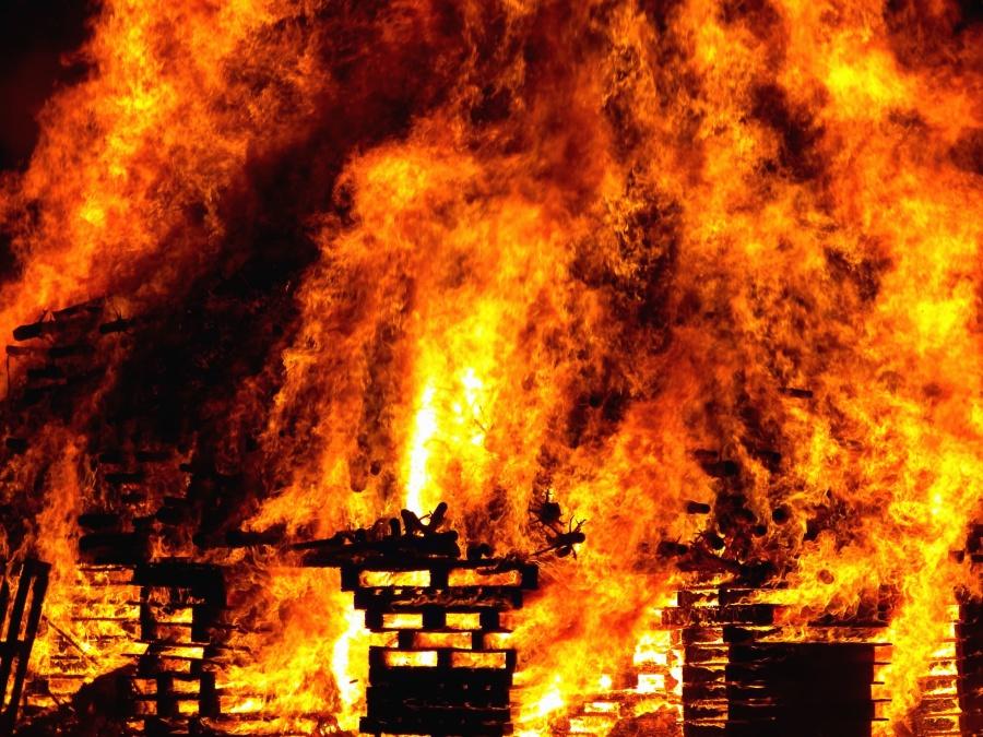 plamen, vrućina, gori, vatra, drvo, dim