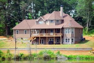 Haus, rasen, eigentum, fluss, architektur, gebäude, zuhause