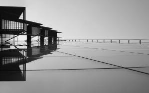 Puente, edificio, resumen, arquitectura, reflexión, mar, viaje, agua