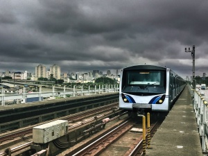 Tren, ciudad, metro, ferrocarril, construcción, puente