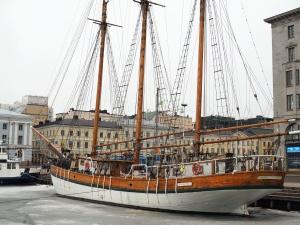 tàu, thuyền buồm, biển, thị xã, băng, mùa đông, mast