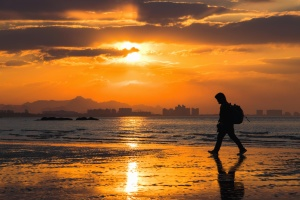 sunset, man, building, landscape, water, sea, backpack