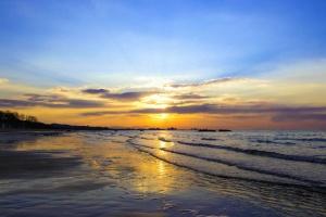 облак, залез слънце, море, вълни, бряг, пясък, пейзаж