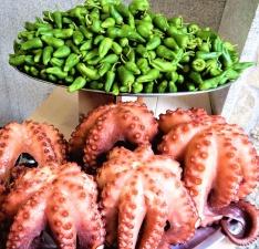 октопод, храна, морски дарове, зеленчуци