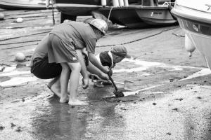 деца, пясък, крайбрежие, лодка, вода