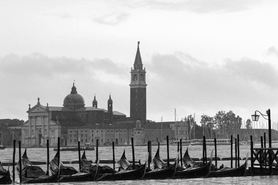 architectuur, rivier, boot, kerk, hemel, landschap