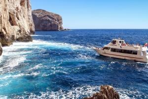 Falaise, bateau, mer, vagues, eau, rochers, bateau