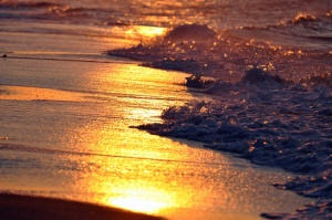 sea, waves, sand, sunset, water