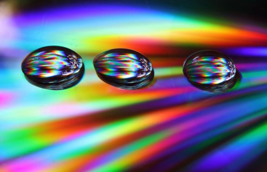 abstract, bol, regenboog, kleur, waterdruppel