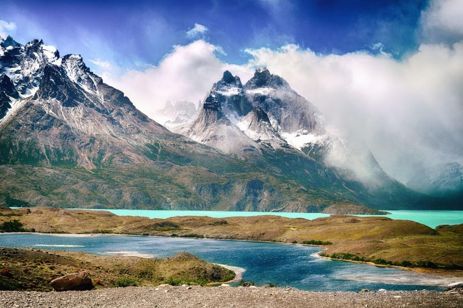 niebo, śnieg, Dolina, wody, chmury, zimno, lodowiec
