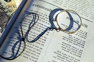 forstørrelses glas, side, papir, forskning, tekst, bog