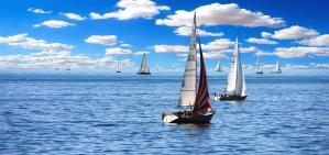 Voile, mer, eau, bateaux, nuages