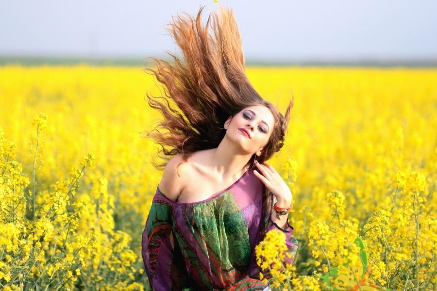 woman, beauty, girl, grass, hairstyle, posing, field, flower