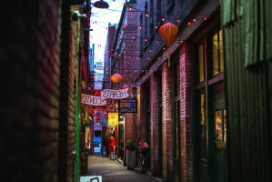 walls, alley, buildings, decoration, lights, street