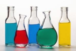 vetenskap, laboratorium, flaskor, kemikalier, kemi,