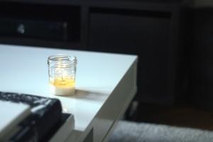 table, wax, jar, candle, room, office