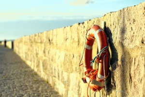 stone, wall, summer, sunshine, sea, beach, buoy, landscape