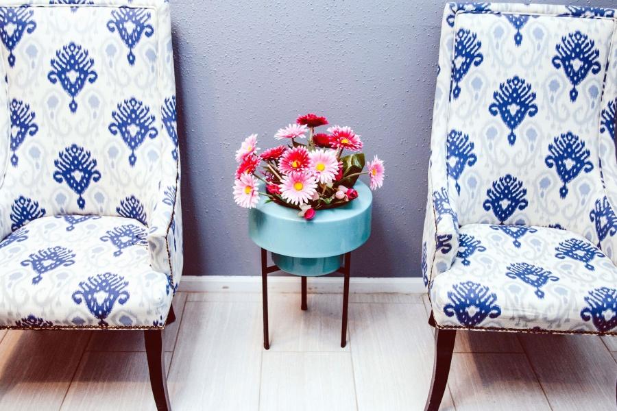 διακόσμηση, σχεδιασμός, κομψό, λουλούδια, πολυθρόνα, καρέκλα, άνεση