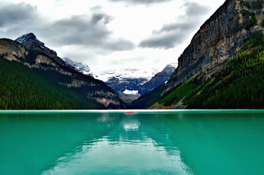 Lago, árvores, vale, aventura, barco, canoa