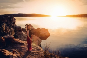 Sun, water, beautiful, woman, girl, lake, landscape