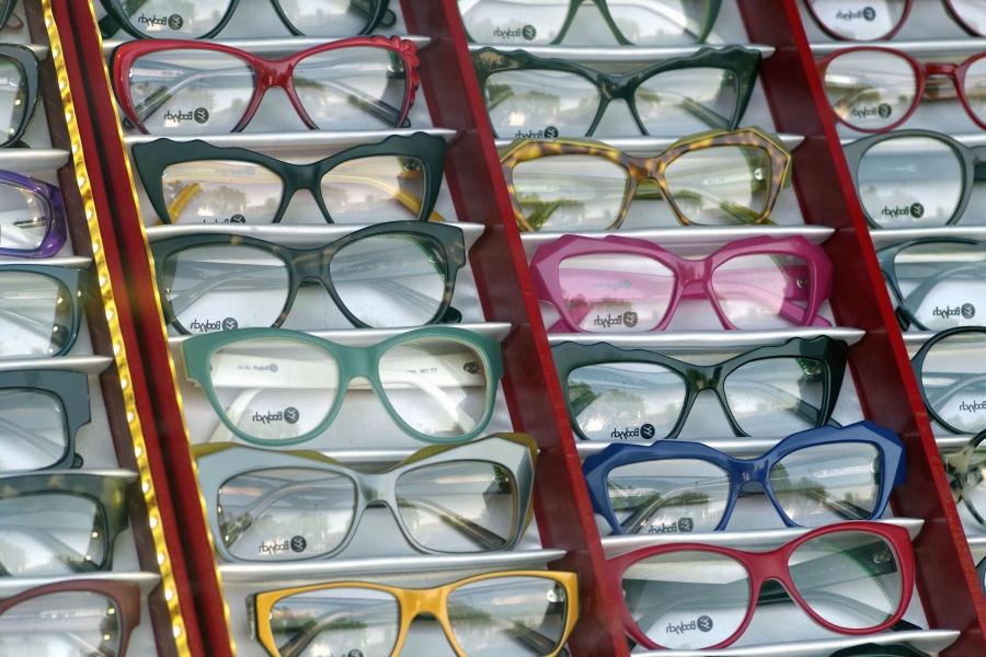 Lunettes, lentilles, magasin, lunettes, exposition, coloré