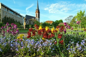 flowers, church, garden, grass, landscape, buildings