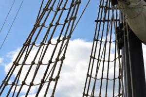 tau, stiger, klatring, mast, båt, himmelen, havet, seil