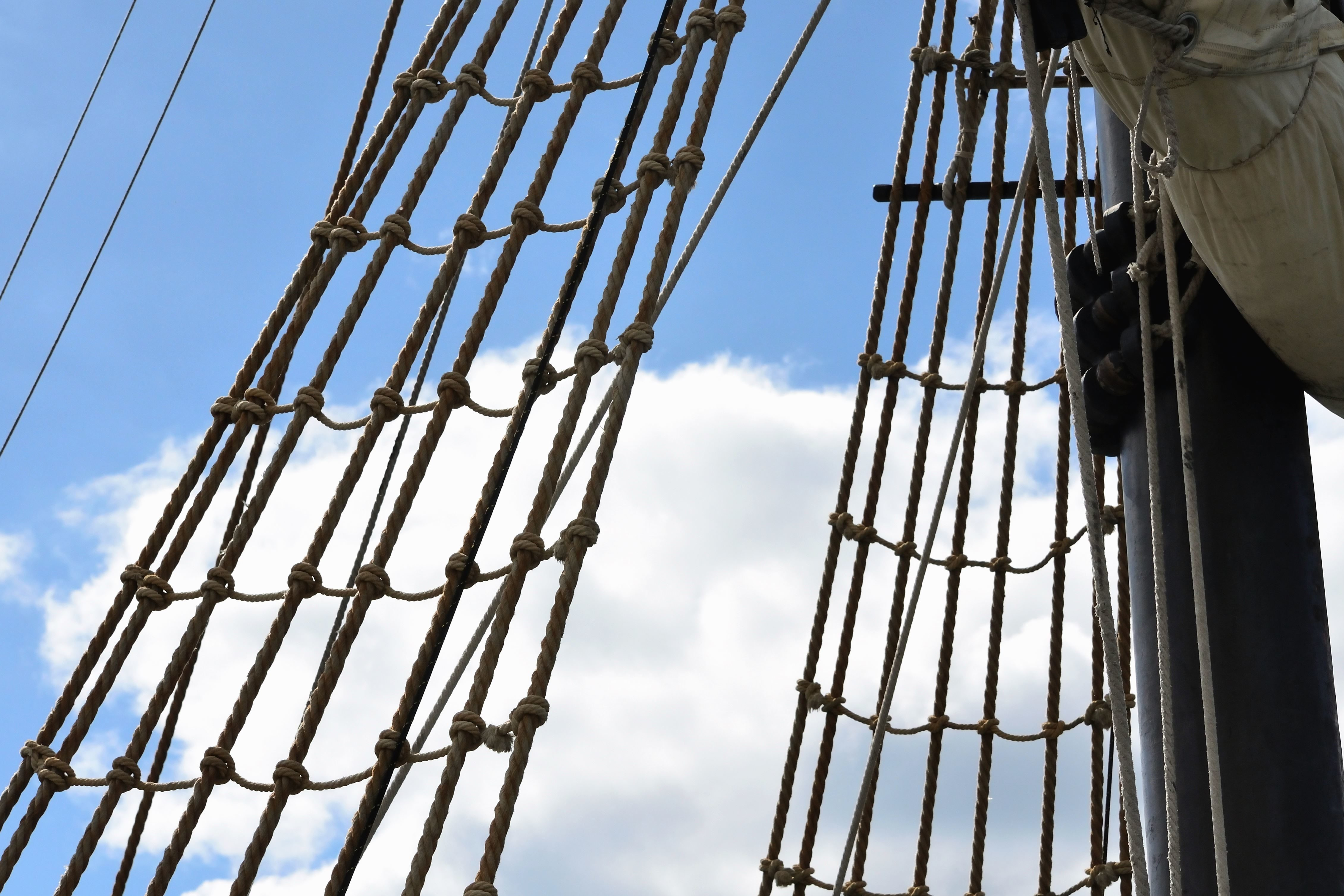 Free picture: rope, ladders, climbing, mast, boat, sky, sea, sail for Rope Ladder Ship  76uhy