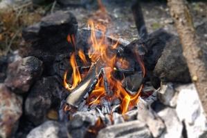 Fuego, madera, chimenea, parrilla, calor, humo, piedra