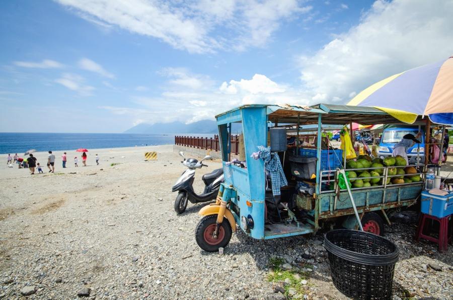 Mercado, mercado, sandía, playa, tienda