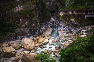 stone, wall, cliff, river, nature, mountains