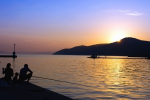 dusk, silhouette, dock, people, fishing, sea, sunset, water, mountains