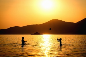 silhouette, people, sea, sunset, water, game, ball, mountain