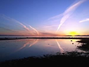 pôr do sol, céu, sol, mar, Costa, água, praia
