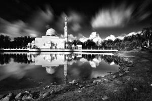 Mosquée, monochrome, lac, extérieur