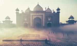 Mosquée, poussière, brouillard, extérieur
