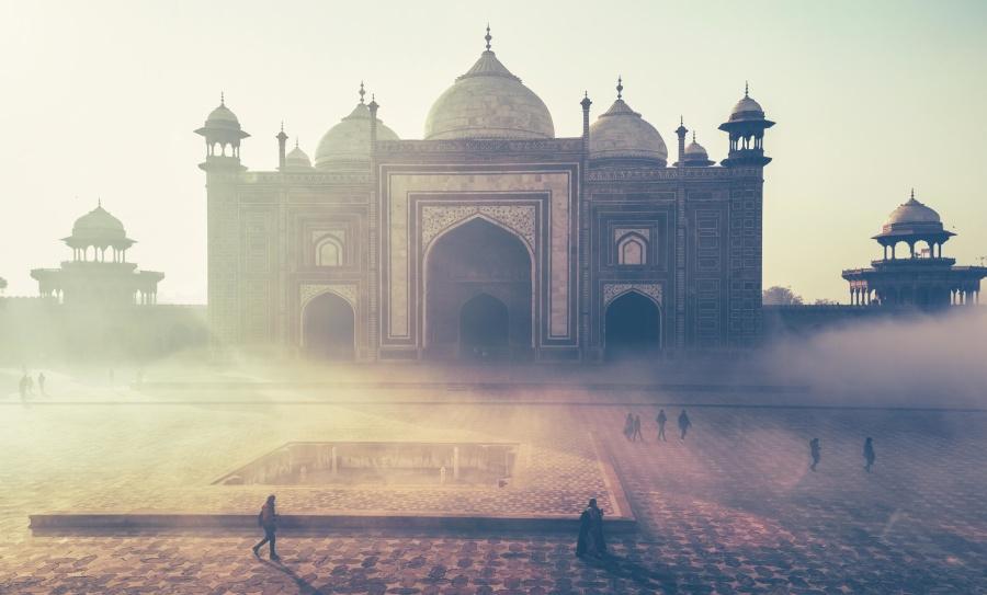 джамия, прах, мъгла, екстериор