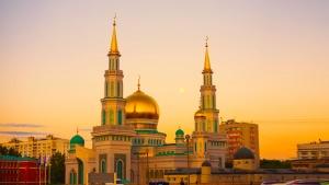 mešita, luxusné, zlatý, veže, exteriér, architektúra