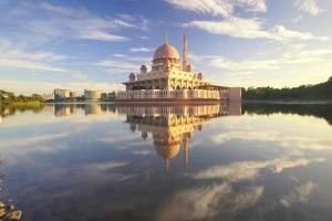 mosque, lake, exterior, garden, tourism