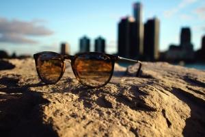 briller, sol, solbriller, briller, himmelen, sand, sjø, bygge, arkitektur