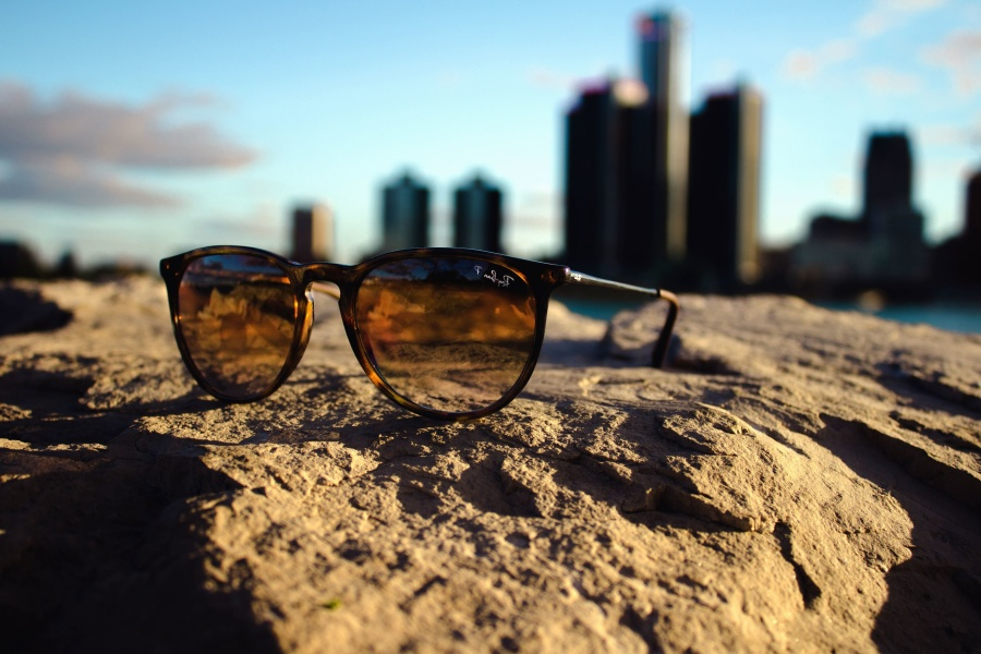glasses, sun, sunglasses, eyeglasses, sky, sand, sea, building, architecture