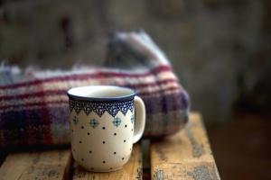 mug, blanket, wood, table, wooden