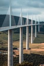 Montagne, pont, pilier, maisons, route, tour, transport