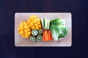 Kiwi, lattuga, carota, melone, frutta, vegetariano, delizioso, sano