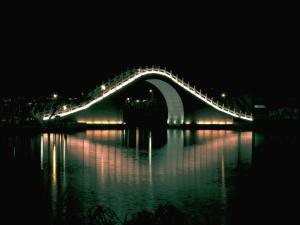 architecture, construction, bridge, river, water, illuminated, city, night