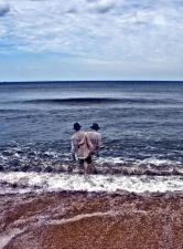 sea, wave, water, man, sky, beach, seashore
