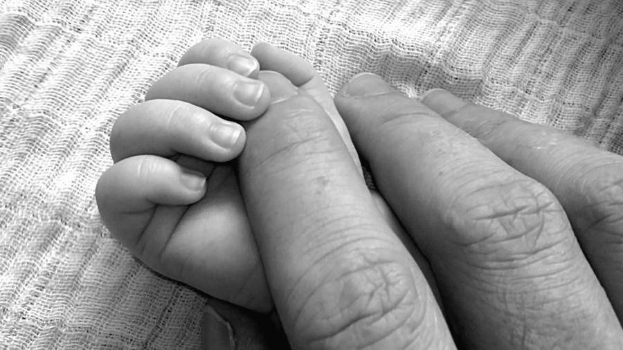 father, child, baby, hands, fingers