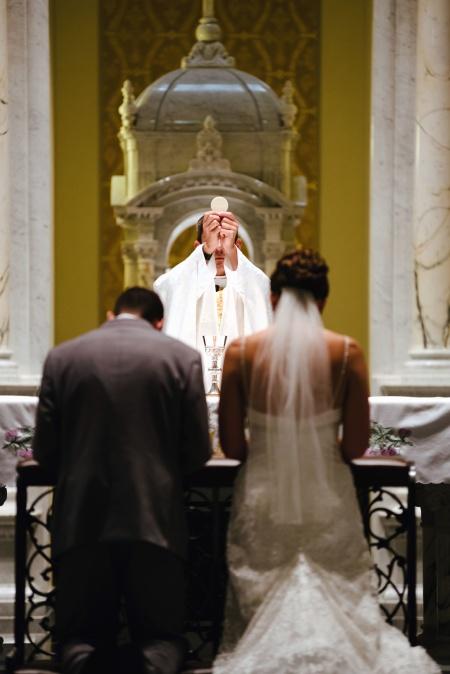 Mariée, groove, église, homme, femme, prêtre, mariage, religion, christianisme