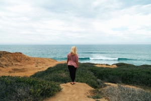 여자, 바다, 자연, 해변, 여름, 섬, 식물