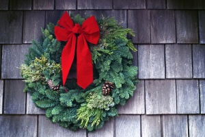 decoration, tape, Christmas, wood, textures, colors, pinecone, wall